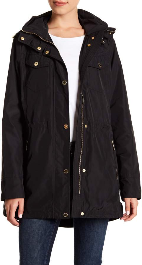 MICHAEL Michael Kors Missy Snap & Zip Front Hooded Raincoat