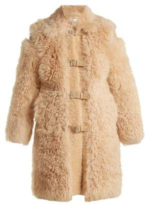 RED Valentino Embellished Shearling Coat - Womens - Camel