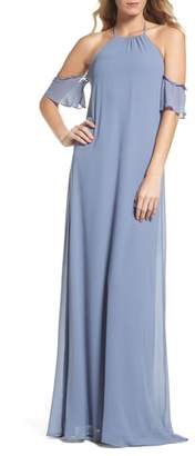 Amsale nouvelle Ruffle Sleeve Halter Gown