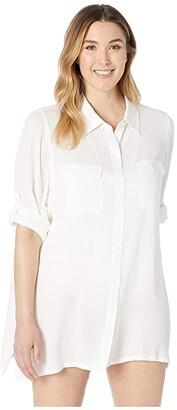 Lauren Ralph Lauren Plus Size Crinkle Rayon Cover-Up Camp Shirt