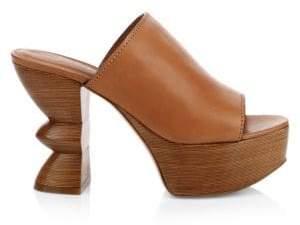 Salvatore Ferragamo Apua Leather Platform Mules
