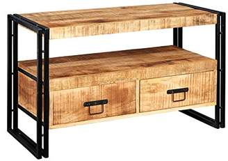Amalfi by Rangoni Electra Design Industrial Metal & Wood Untreated Natural Wood Grain/Banded Iron 2-Drawer TV Stand, 102 x 45 x 60 cm, Natural/Black