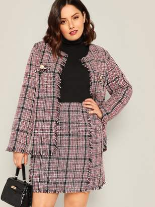 da90d8fb703 Shein Plus Pocket Front Frayed Trim Tweed Coat   Skirt Set