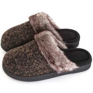 f18d2e40066 ULTRAIDEAS Women s Comfort Memory Foam Slippers Wool Blend Fuzzy Coral Fleece  Lined Slip on House Shoes