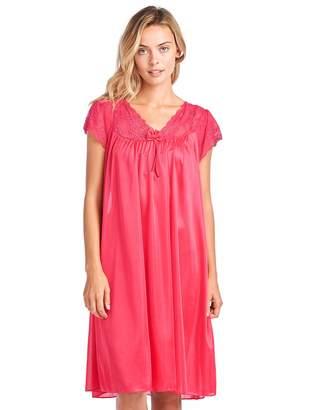 at Amazon Canada · Casual Nights Women s Fancy Lace Neckline Silky Tricot  Nightgown - Purple 26b0e1398
