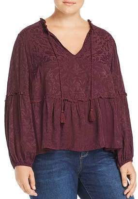 Lucky Brand Plus Tonal Floral Peasant Top