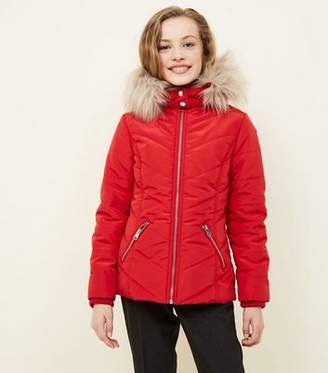 New Look Girls Red Faux Fur Trim Hooded Parka