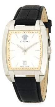 Versace Square Stainless Steel & Leather-Strap Watch