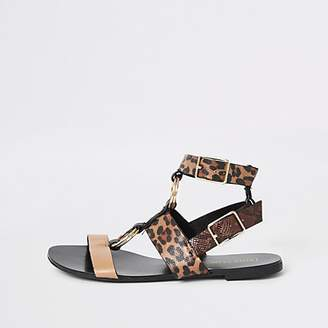 River Island Brown animal print gladiator sandals