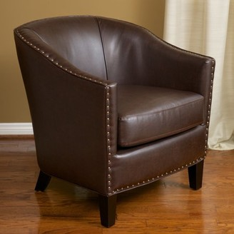 Noble House Audrey Bonded Leather Club Chair Color Brown