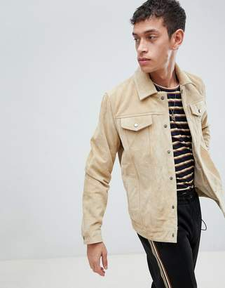 Bellfield Suede Jacket In Beige