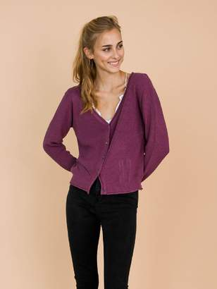 Goodnight Macaroon 'Nora' Purple Distressed Rib-Knitted Button-Up Cardigan