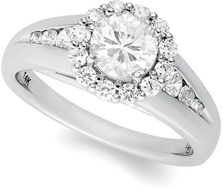 Certified Round-Cut Diamond Halo Engagement Ring in 14k White Gold (1-1/4 ct. t.w.)