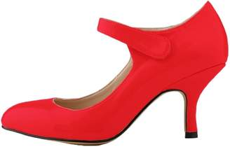 HooH Women's Kitten Heel Wedding Pumps Mary Jane Shoes 5.5 US
