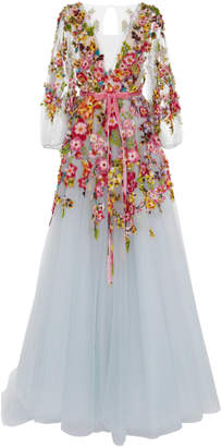 Marchesa Embroidered V-Neck Gown