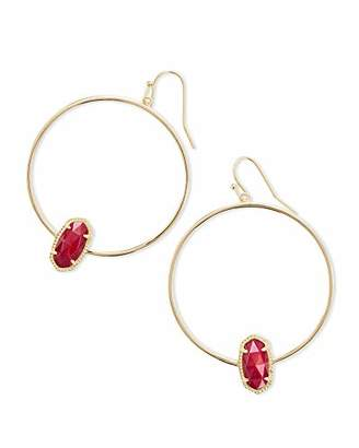 Kendra Scott Womens Elora Earring Gold/Red/Mother-Of-Pearl One Size