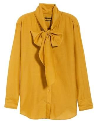 Scotch & Soda Cotton Silk Bow Tie Blouse