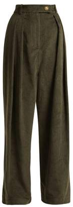 Awake Wide Leg Corduroy Trousers - Womens - Dark Green