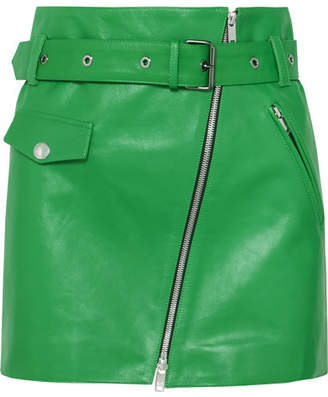 Sonia Rykiel Zip-embellished Belted Leather Mini Skirt - Green