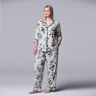 Vera Wang Women's Simply Vera 3/4 Sleeve Notch Collar PJ Set