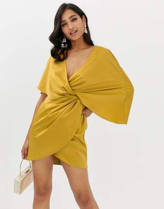 Asos Design DESIGN mini dress in satin with asymmetric kimono sleeve