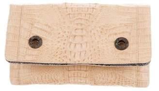 Celestina Crocodile & Lizard Flap Clutch