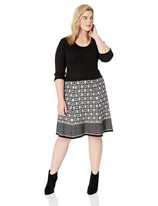 Sandra Darren Women's 1 PC Plus Size 3/4 Sleeve Fit & Flare Sweater Dress
