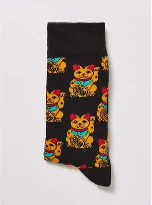 Topman Mens Black 'Lucky Cat' Socks