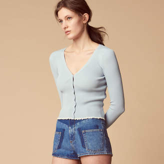 Sandro Knitted cardigan with ruffled detail