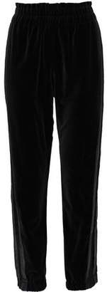 Sonia Rykiel Cropped Satin-Trimmed Cotton-Velvet Track Pants