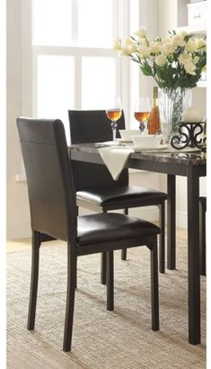 Inspire Q Declan Faux Leather Metal Chair, Set of 2, Dark Brown