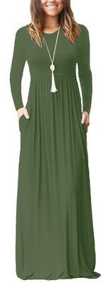 LHS Charmer Women Long Sleeve Loose Plain Maxi Dresses Casual Long Dresses with Pockets (, M)