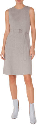 Akris Punto Sleeveless Belted Melange Jersey A-Line Dress