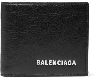 Balenciaga Arena Logo-Print Creased-Leather Billfold Wallet