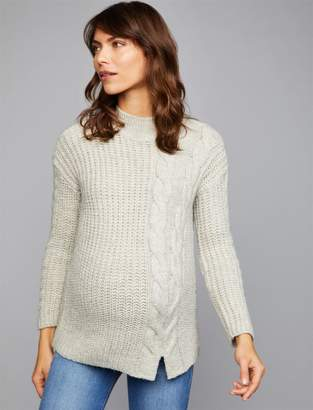 A Pea in the Pod Cable Knit Mock Neck Maternity Sweater