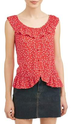 Moral Fiber Juniors' Floral Printed Ruffle Trim Sleeveless Blouse