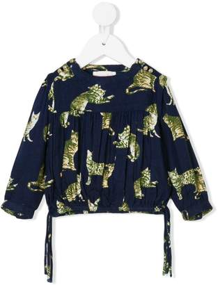 Simple cat print blouse