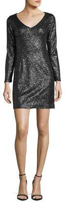 JAY X JAYGODFREY Alexis Long-Sleeve V-Neck Sequin Cocktail Dress