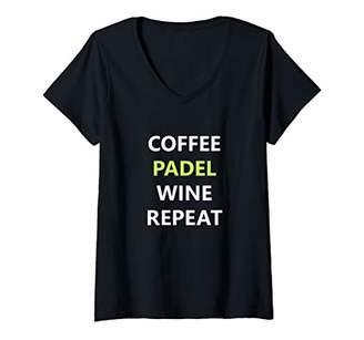 Womens Coffee Padel Wine Repeat Fun Padel Player's V-Neck T-Shirt