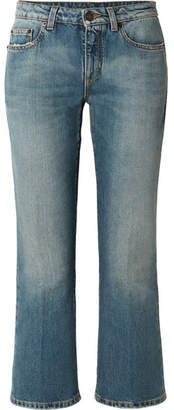 Saint Laurent Cropped Mid-rise Flared Jeans - Blue