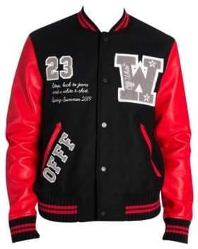 Off-White Luxury Leather & Wool Varsity Jacket