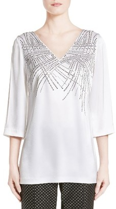 Women's St. John Collection Embellished Liquid Satin Top $895 thestylecure.com