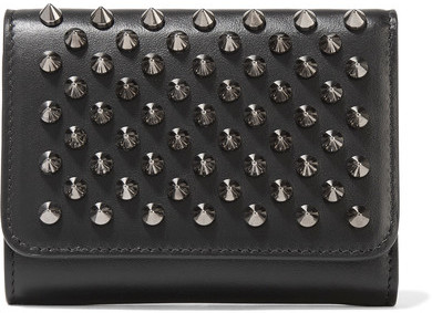 Christian Louboutin  Christian Louboutin - Macaron Mini Spiked Leather Wallet - Black