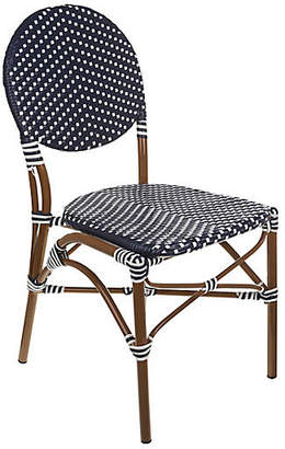 Tiab Inc. Café Outdoor Bistro Side Chair - White/Navy