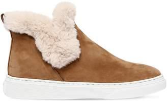 Hogan 50mm Suede & Faux Shearling Sneaker Boot
