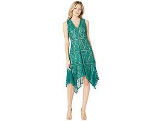 Taylor Sleeveless Lace Hankerchief Hem Dress Women's Dress