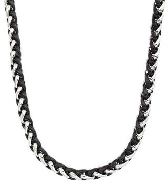 Armani Exchange Jewelry Mens Two-tone Stainless Steel 24-inch Wheat Chain Necklace (Black)