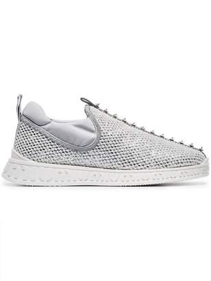 Miu Miu Glitter mesh slip-on embellished sneakers