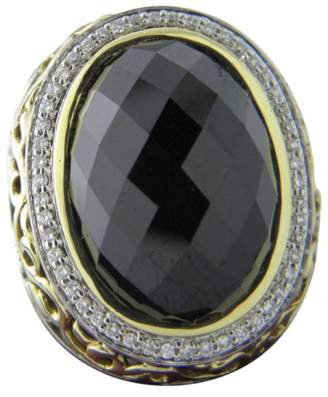 Charles Krypell 925 Sterling Silver & 18K Yellow Gold with Black Onyx & Diamond Ring Size 7