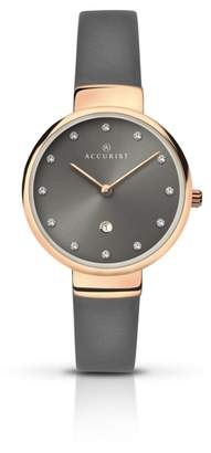 Accurist Ladies Stainless Steel Leather Watch